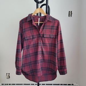 Babaton Red and Charcoal Oversized Plaid Shirt
